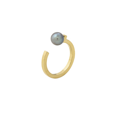 gold open pearl ring