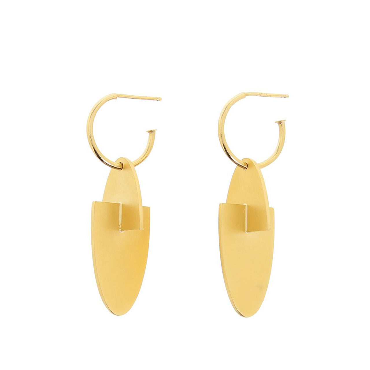 gold oval hoop pendant earrings