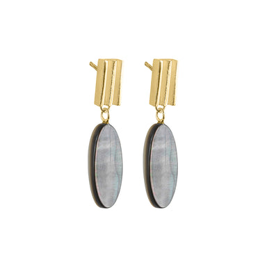 gold oval mother of pearl earrings