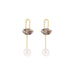 gold quartz crystal pearl earrings