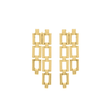 gold rectangular link earrings