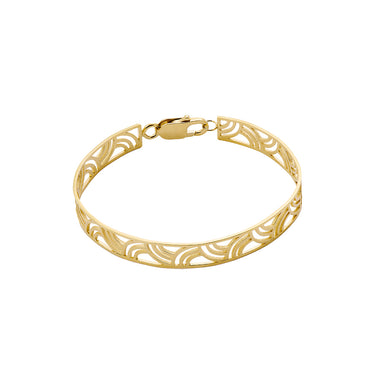 gold rigid open pattern bracelet