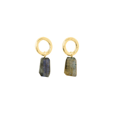 gold round labradorite stud earrings