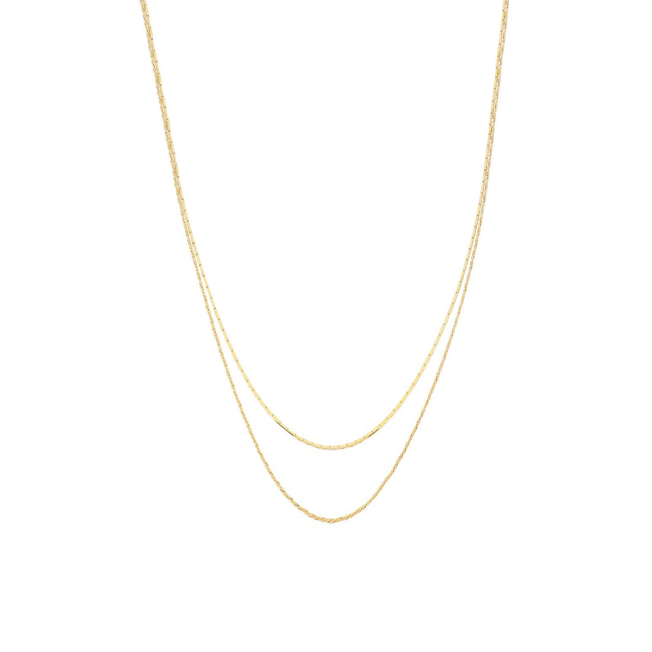 gold simple layered duo necklace