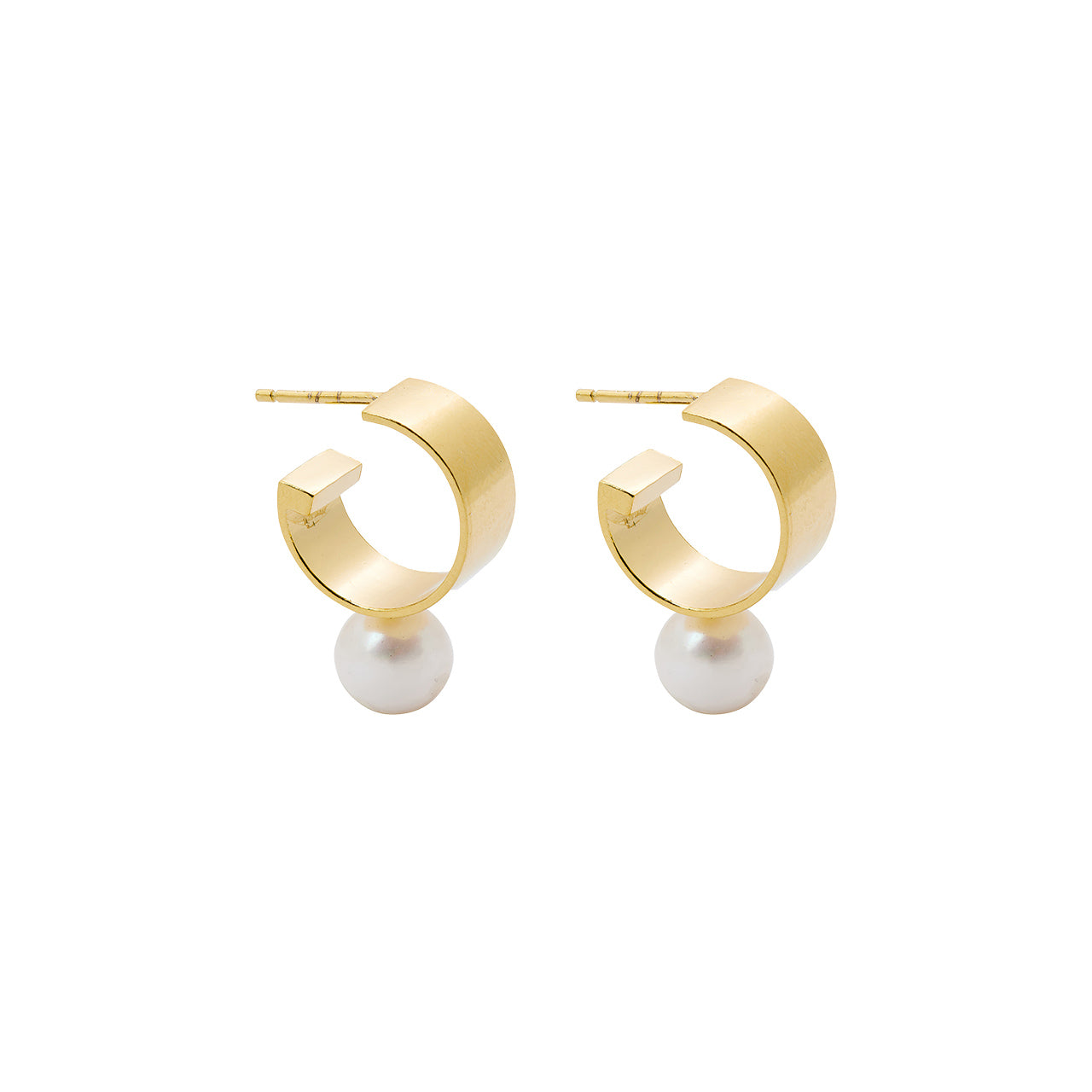 gold small chunky pearl hoops