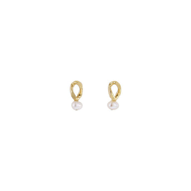 gold small post pearl earrings