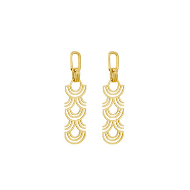 gold statement arched pattern earrings