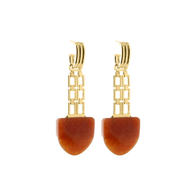gold statement aventurine earrings