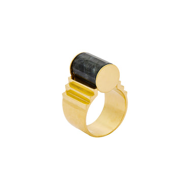 gold statement labradorite ring