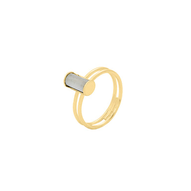 gold subtle double mother of pearl ring
