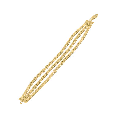 gold triple chain-link bracelet