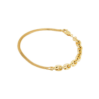 gold two chain bracelet