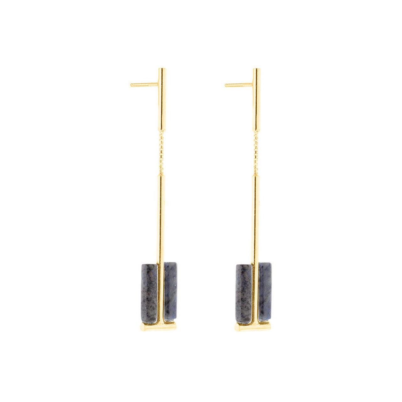 gold two cylinder dumortierite earrings