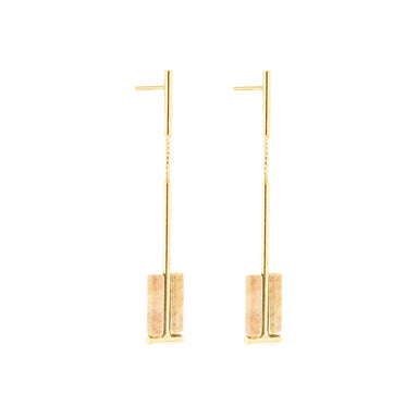 gold two cylinder jasper earrings