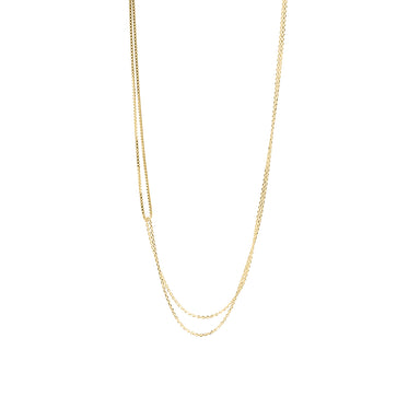 gold two looped chain necklace