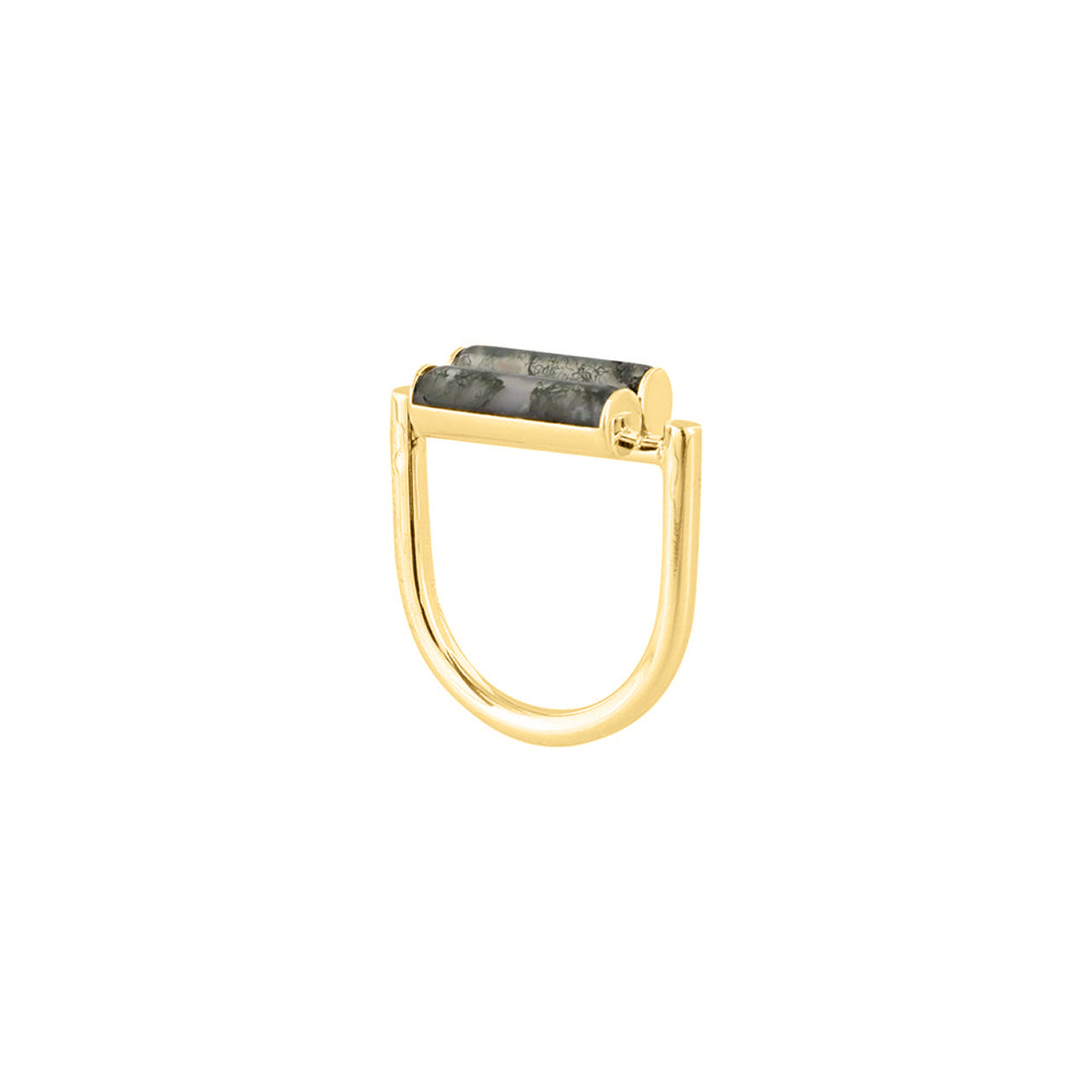 gold u-shape agate cylinder ring