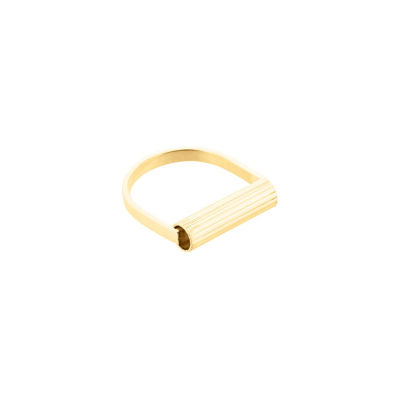 gold u-shape engraved tube ring