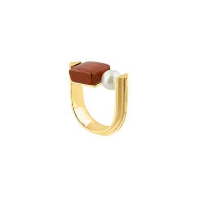 gold u-shape jasper pearl ring