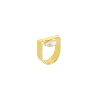 gold u-shape pearl disk ring