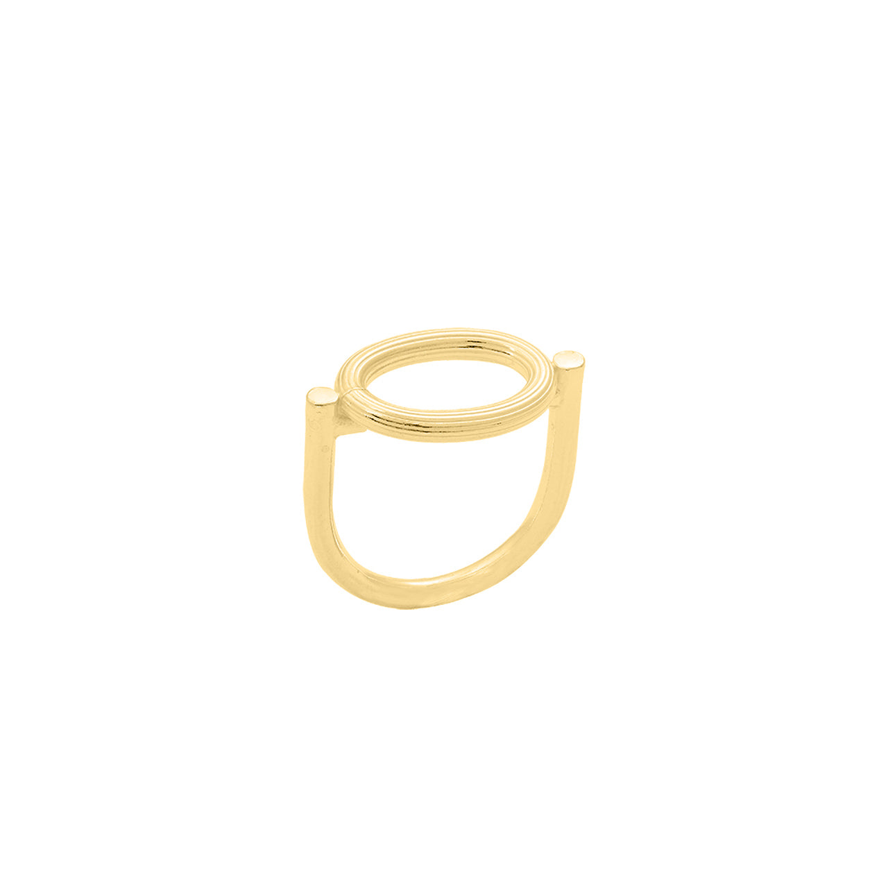 gold u-shaped engraved oval element ring