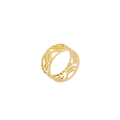 gold wide round arched pattern ring
