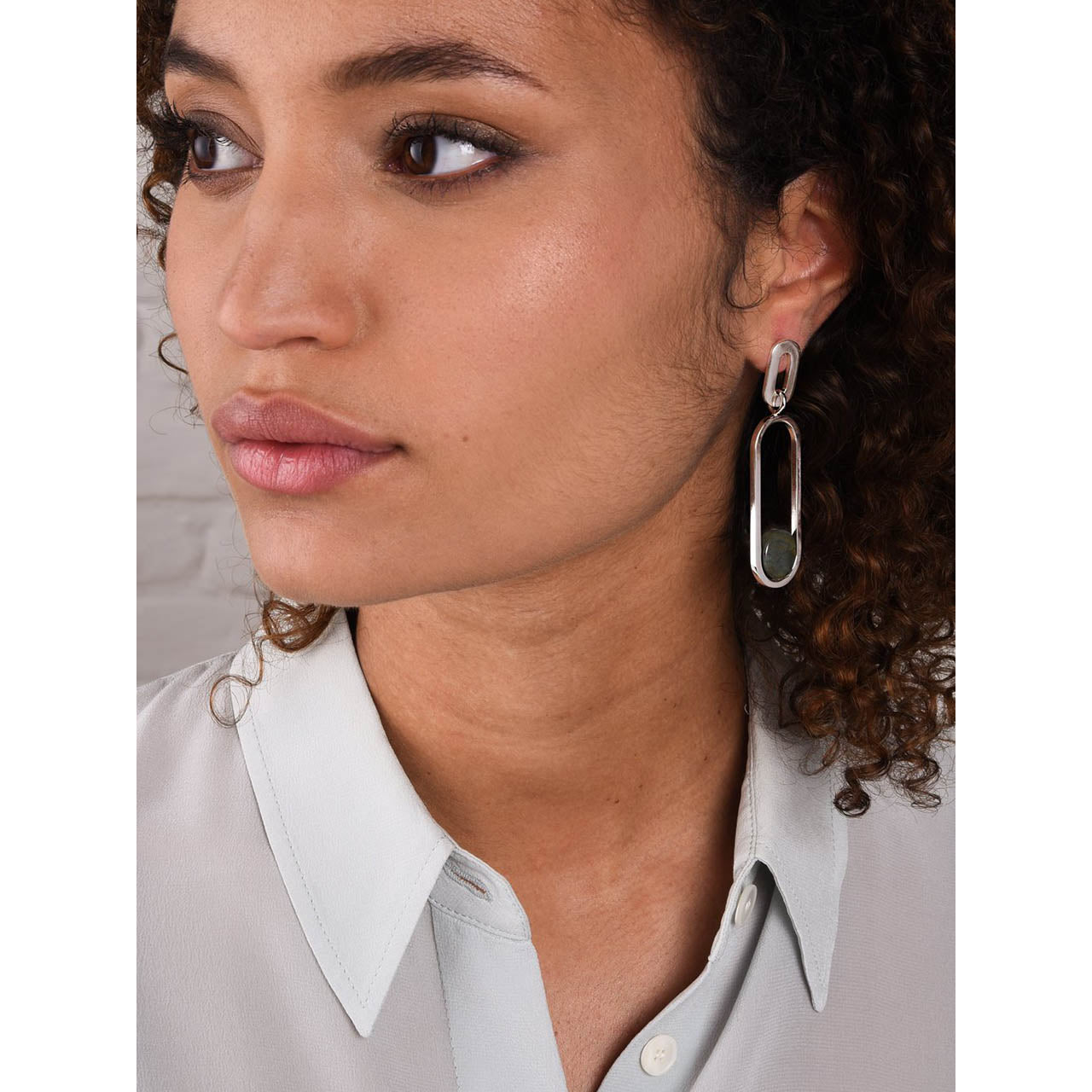 asymmetric jasper serpentine earrings