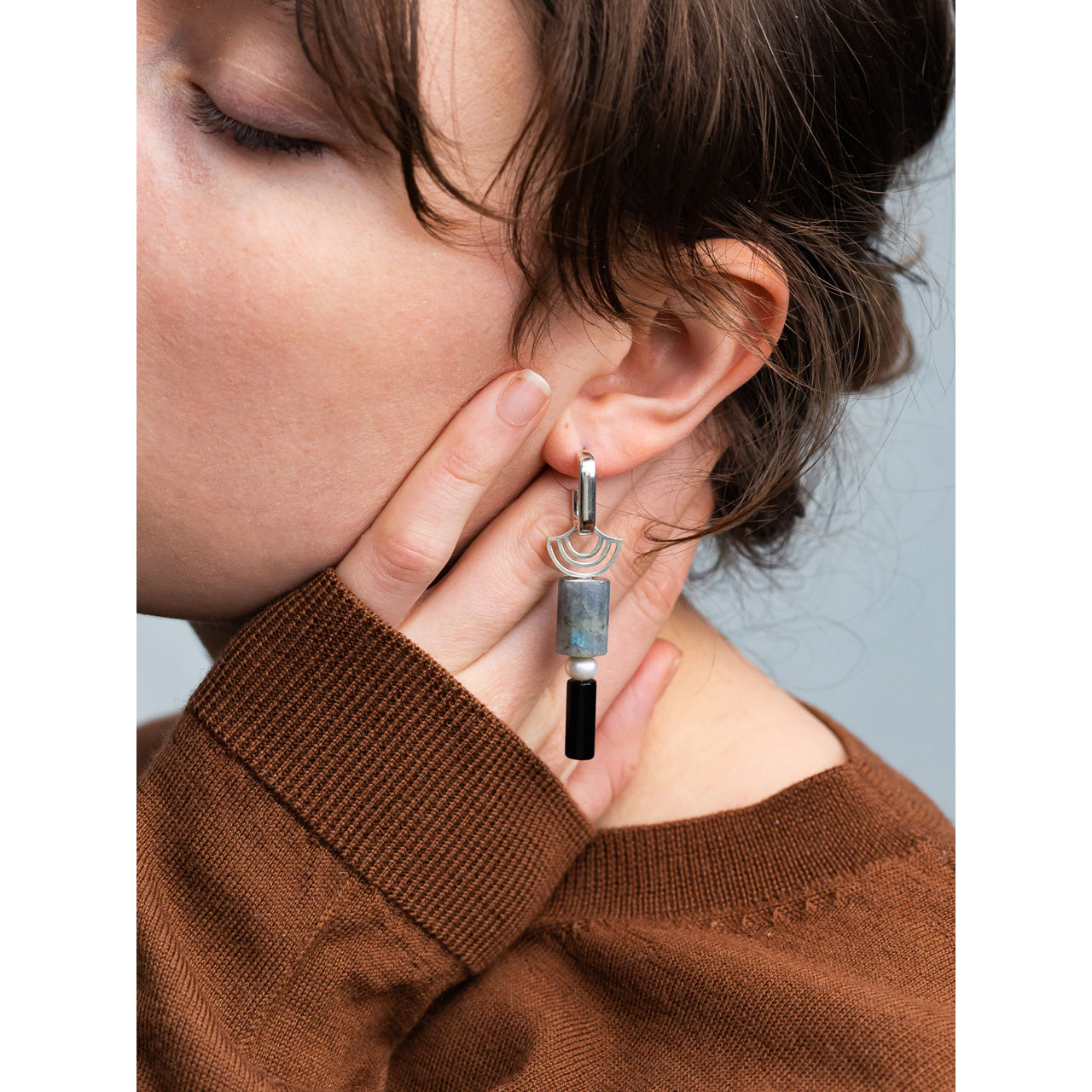 stacked statement earrings