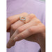 u-shaped engraved oval element ring