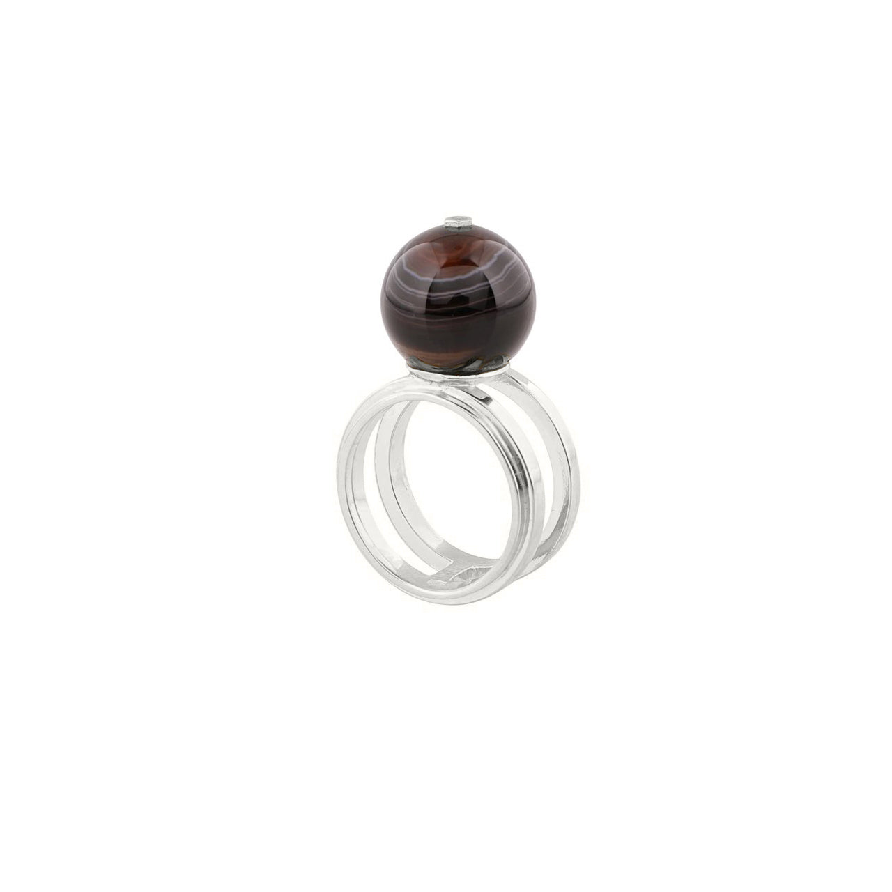 silver agate sphere ring
