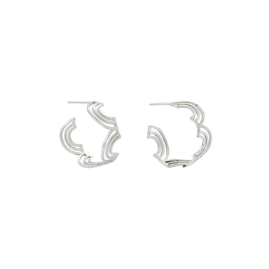 silver arched pattern hoops