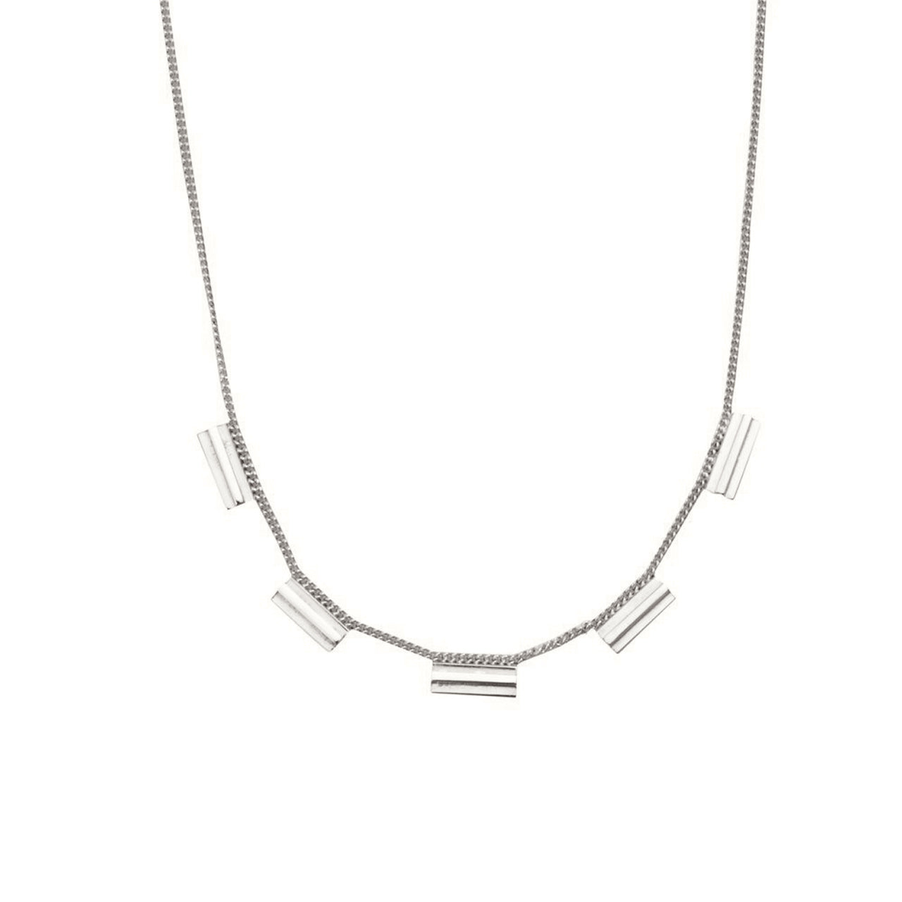 silver architecture inspired necklace
