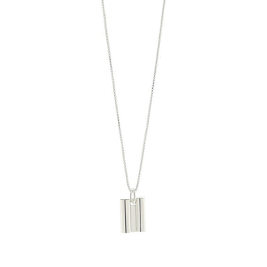 silver art deco tube pendant necklace