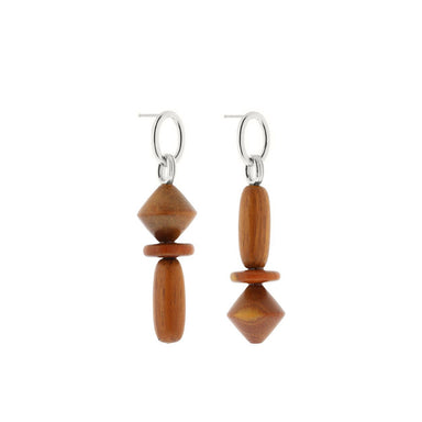 silver asymmetric bayong wood earrings