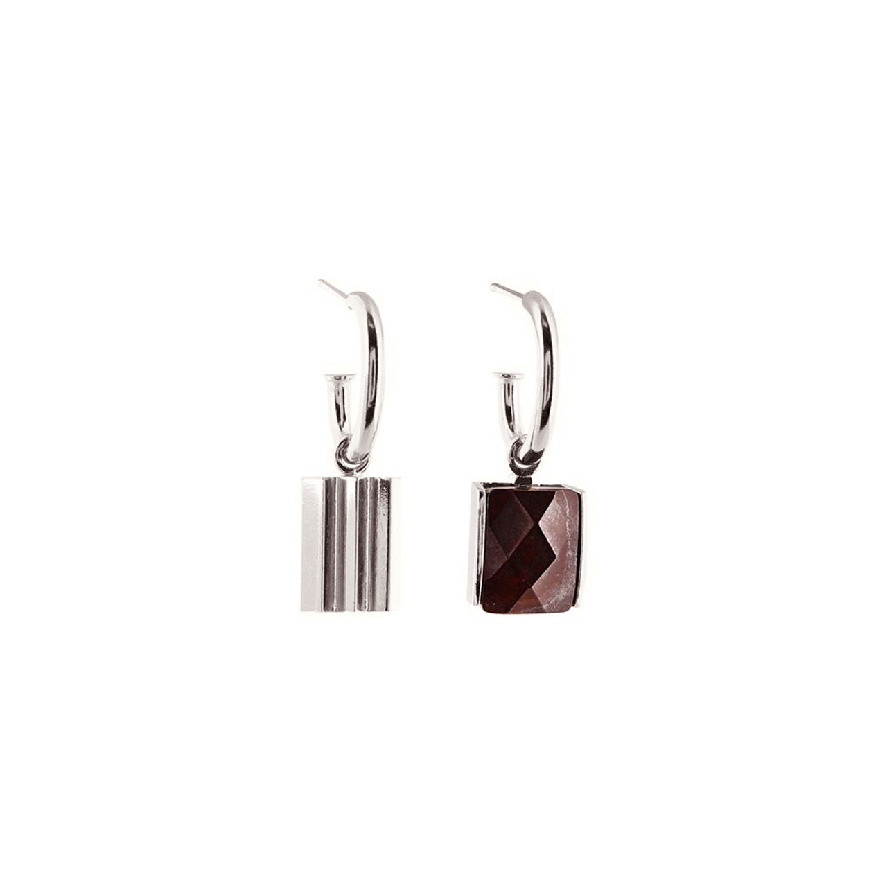 silver asymmetric mokaïte earrings