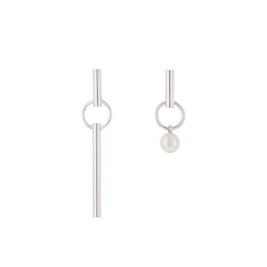 silver asymmetric pearl earrings