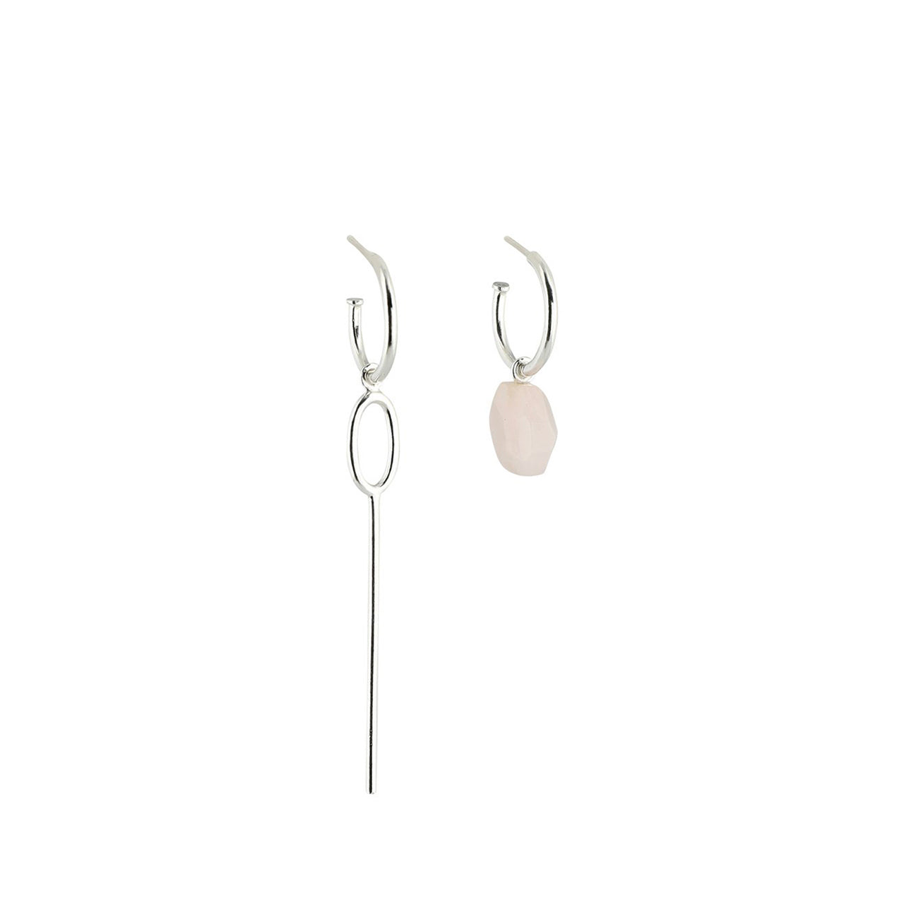 silver asymmetric rose quartz hoop earrings