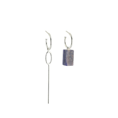 silver asymmetric sodalite hoop earrings