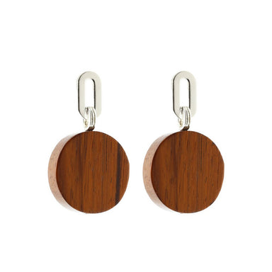 silver bayong wood disk earrings