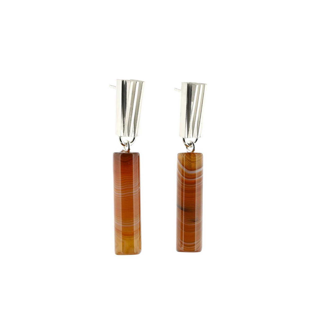 silver carnelian agate cylinder earrings