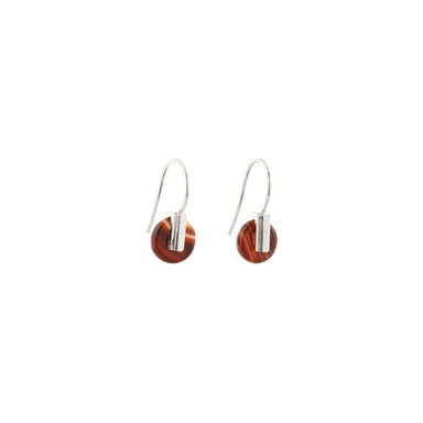 silver carnelian agate hook earrings