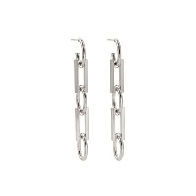 silver chunky link earrings