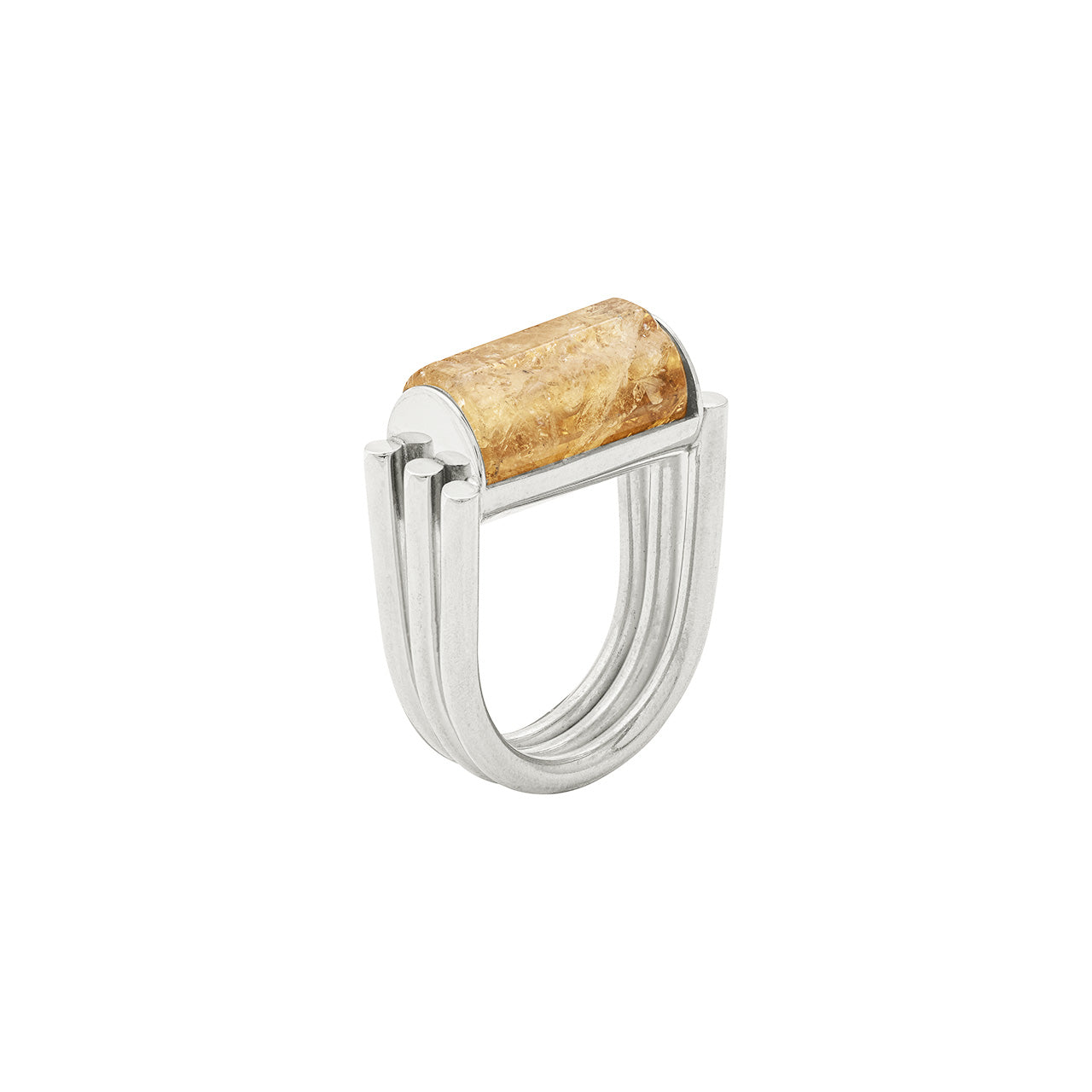 silver citrine ring