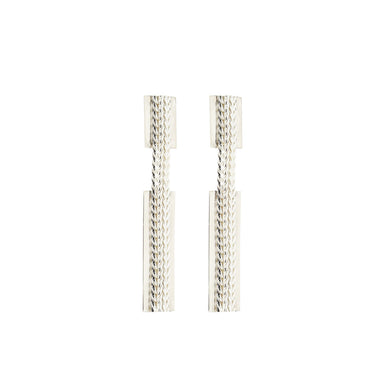 silver dangly chain-link earrings