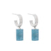 silver double aquamarine hoops