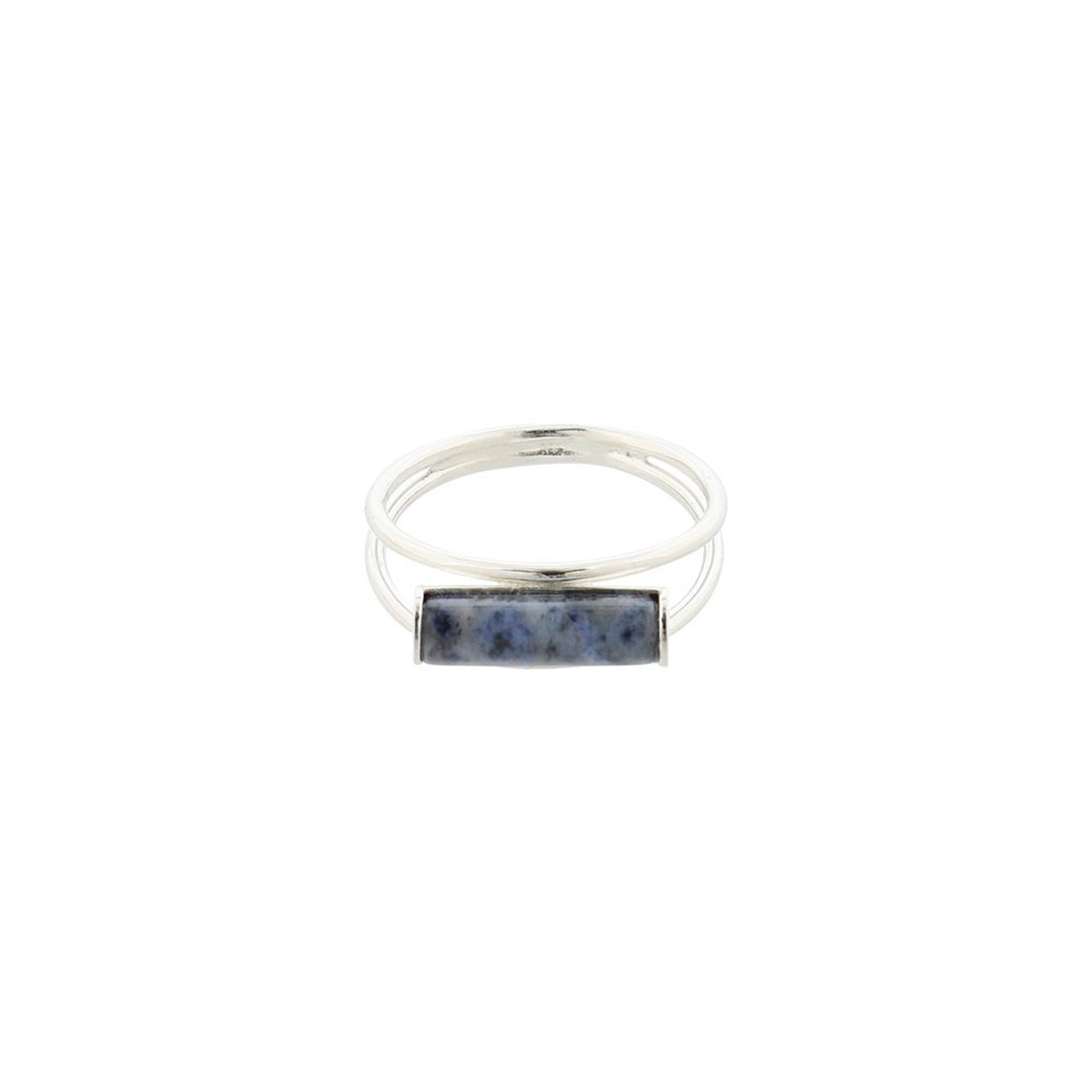silver dumortierite cylinder ring