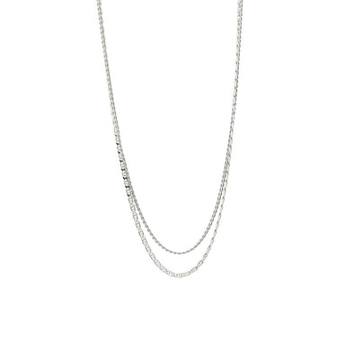 silver double layered chain necklace