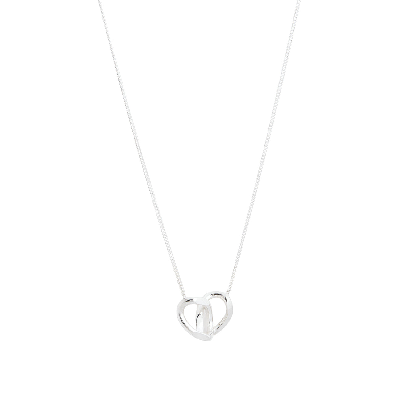silver double link pendant necklace