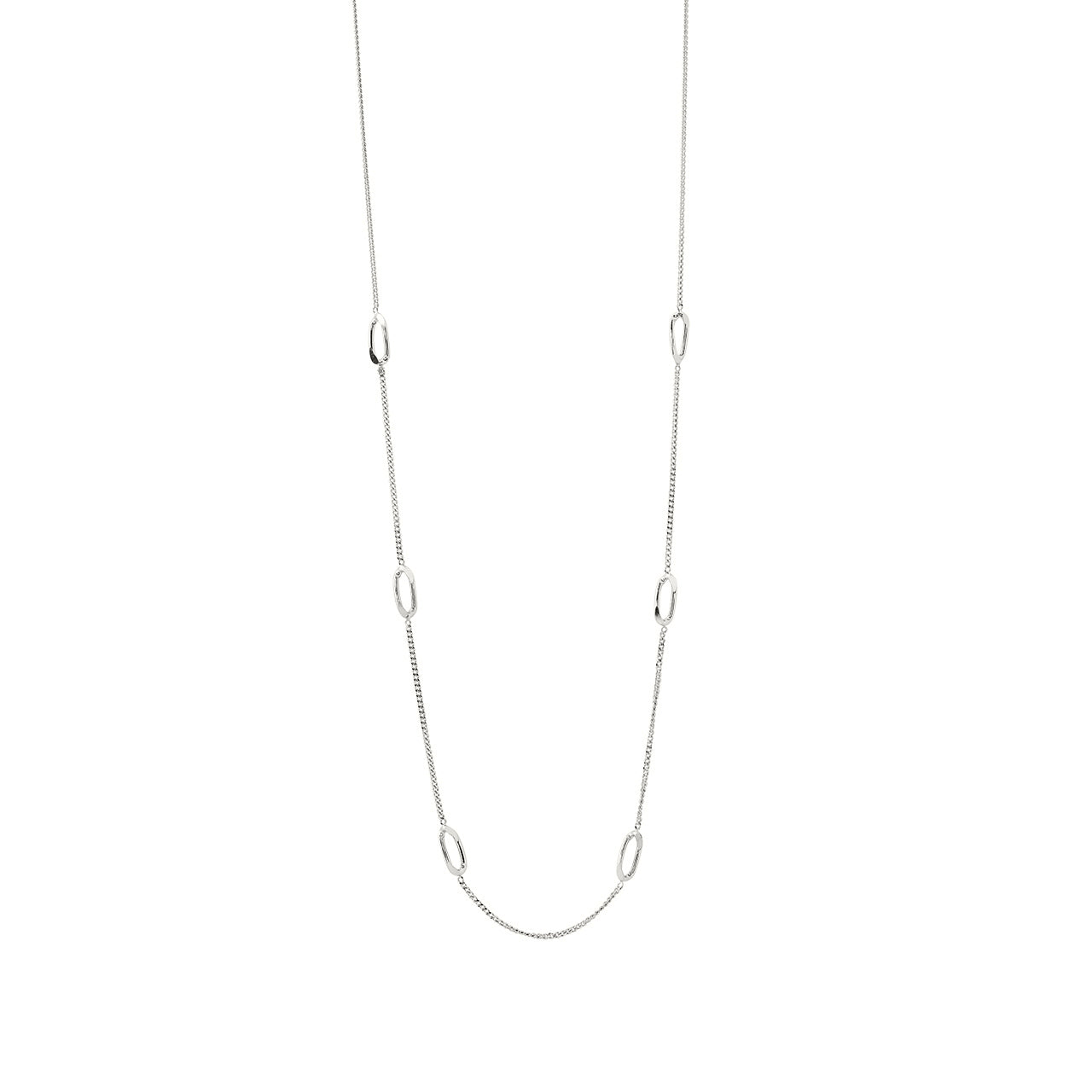 silver elegant long chain necklace