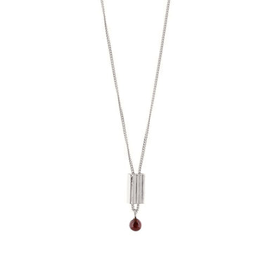 silver garnet pendant necklace