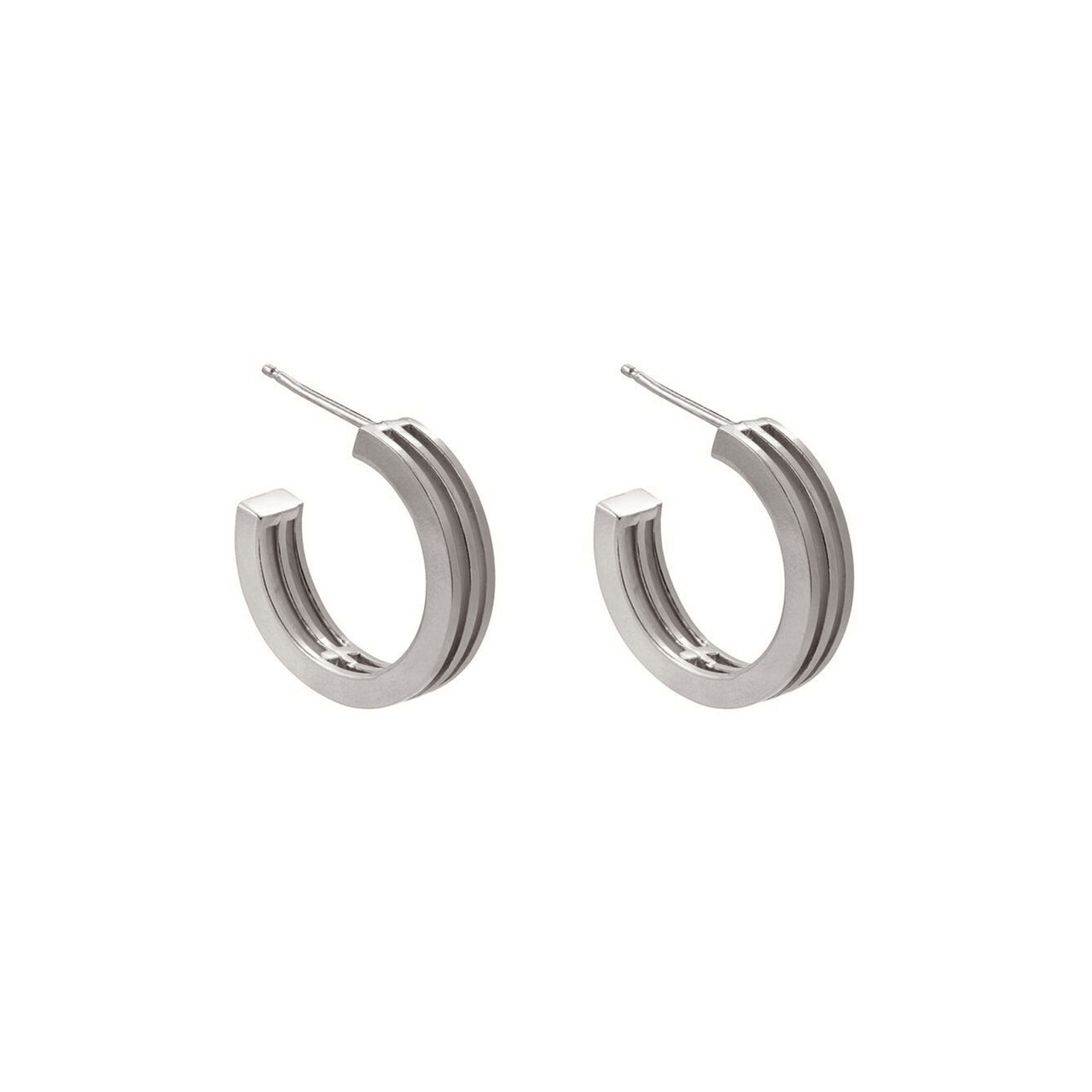 silver graphic layered hoops